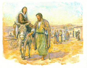 Mary on a donkey, being led by Joseph. Illustrations by Jody Eastman