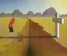 shadow of a cross crossing a chasm